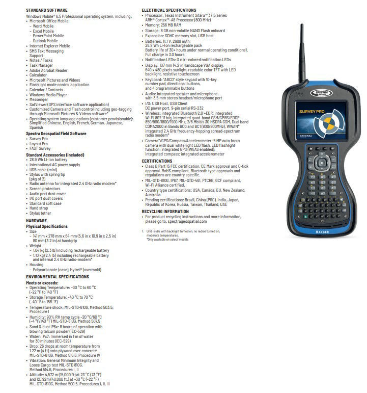 Picture of Spectra Precision Ranger 3L Data Collector w/Survey Standard