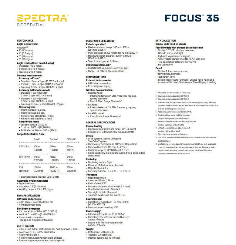 Imagen de Spectra Precision Focus 35 Series Total Station