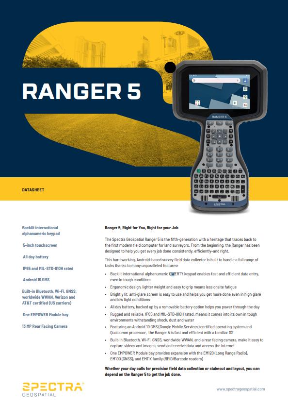 Imagen de Spectra Ranger 5 Data Collector (non-WWAN) Worldwide Region - RG5-1-0100-00